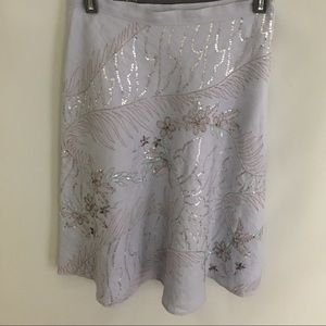 French Connection Skirt Pale Blue Beaded Sz 2